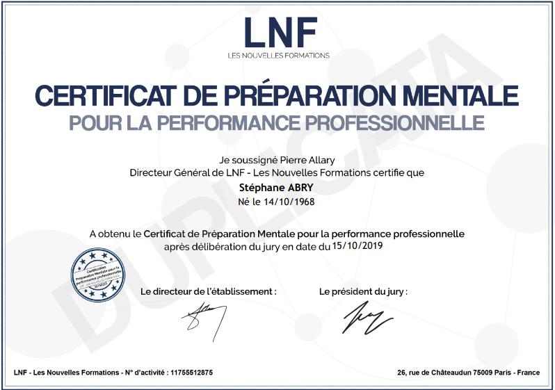 Certificat de préparation mentale